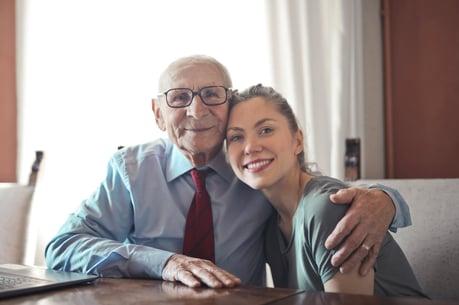 elderly man with daughter